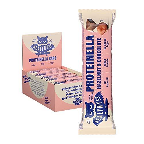 HealthyCo – Proteinella Barretta Nocciola e Cioccolato 20x35g – Uno snack più sano, ricco di proteine senza zuccheri aggiunti né olio di palma - Una barretta proteica più salutare