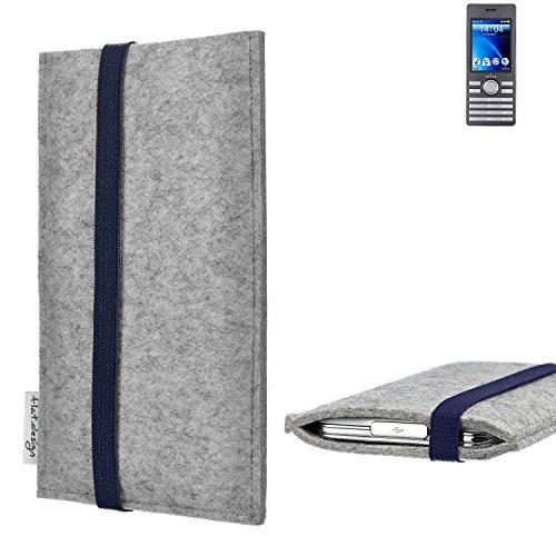 flat.design Handy Hülle Coimbra für Kazam Life B6 - Schutz Case Tasche Filz Made in Germany hellgrau blau