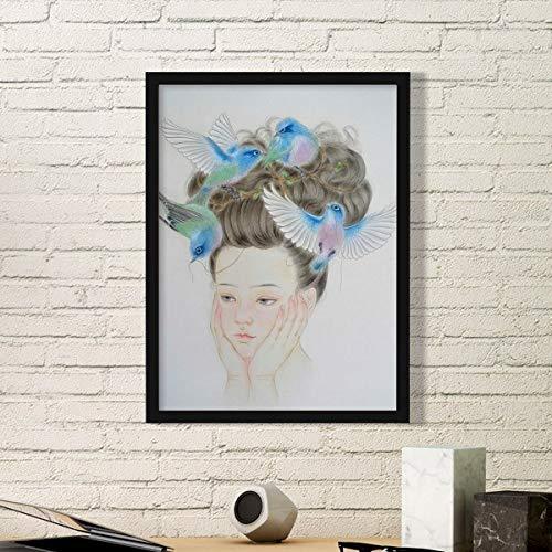DIYthinker Pretty Meisje Blauw Vogel Chinese Schilderen Eenvoudige Fotolijst Kunst Prints Schilderijen Thuis Muursticker Gift