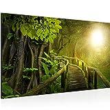 034814a - Cuadro de pared (70 x 40 cm, fieltro), diseño de puente en el bosque