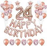 TAOHUIEU Decoración de fiesta de cumpleaños 24 con globos de oro rosa para niñas y mujeres, decoraciones de cumpleaños 24 con pancartas de feliz cumpleaños (49 piezas)