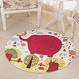 para el Sitio de los niños Redondo Poliéster de Elefante Rojo para Alfombra Suave Cómodo Usable Fácil Limpieza (Color : 60 CM Diameter)