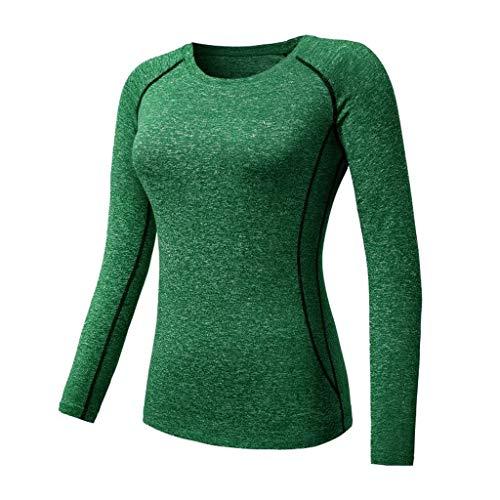 ZYING Zore Yoga Mujeres Top de Manga Larga Yoga Fitness Running Camiseta Deportes Corrientes rápidas secar la Ropa (Color : Green, Size : S Code)