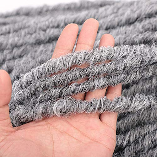 SHIM 20 « Déesse Faux Locs Crochet Extensions de Cheveux synthétiques Tresses Crochet Dread Locs tressage bouclés T1B Gris 5pcs / Lot