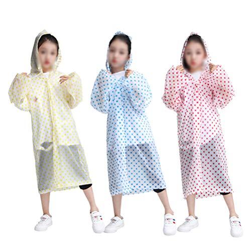 HEALLILY Kinderregenjas 3 Stuks Praktische Regenkleding Waterdichte Beschermende Regenhoes Voor Kinderen Kinderen (Rood Geel Blauw)