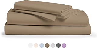 """800 Thread Count 100% Pure Egyptian Cotton – Sateen Weave Premium Bed Sheets, 4- Piece Taupe King- Size Luxury Sheet Set, Fits mattresses Upto 18"""" deep Pocket"""