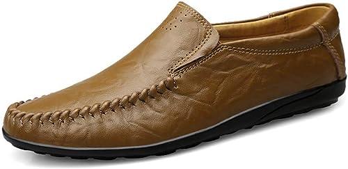 Lvjuzhuangshieur Herren Driving Loafers Slip-on-Stil OX Leder Mokassins Dual Purpose LightWeißht Flexible MultiFarbe Stiefelschuhe (Farbe   Khaki, Größe   46 EU)