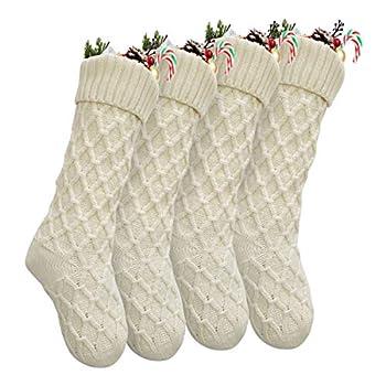 Vanteriam Pack 4 Christmas Stockings 18   Unique Ivory White Knit Christmas Stockings for Xmas Decorations Set of 4