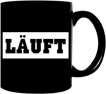 Preisvergleich für Kaffeetasse schwarz 300ml große Tasse bedruckt mit Spruch LÄUFT