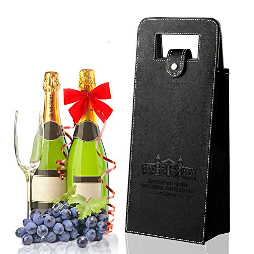 Wine Gift Bags, Leather Wine Tote Bag Carrier for 2 Bottles, Upscale Reusable Padded Double Layered Leakproof Protective Wine/Champagne/Beer Travel Carrying Purse For Business, Holiday Gift