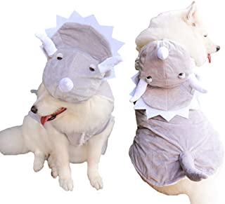 MUYAOPET Triceratops Large Dog Dinosaur Costume Winter Fleece Dog Coat Clothes in Cold Weather Labrador Corgi