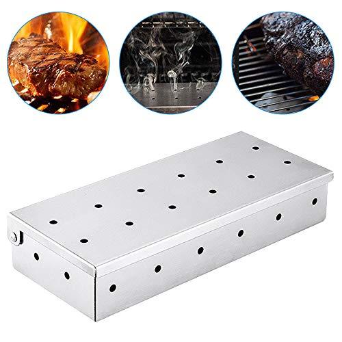 Räucherboxen mit großem Fassungsvermögen, aus verdicktem 430er-Edelstahl, tragbar, Holzspäne auf Gasgrill oder Holzkohlegrill, Zubehör für köstlichen Grillgeschmack zu Fleisch