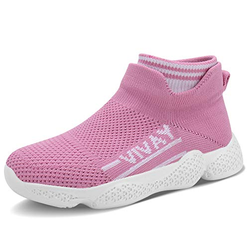FEITAI Tennis Shoes for Girls Laceless Zapatos para Niños Lightweight Running Sports Sneakers for Child Pink Size 12(Little Big Kids)