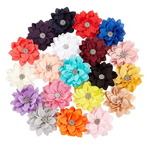 inSowni 20 Pack Alligator Hair Clips Barrettes Big Chiffon Flower Lotus with Rhinestone Hairbow Accessories for Baby Girls Toddlers Kids Teens Women