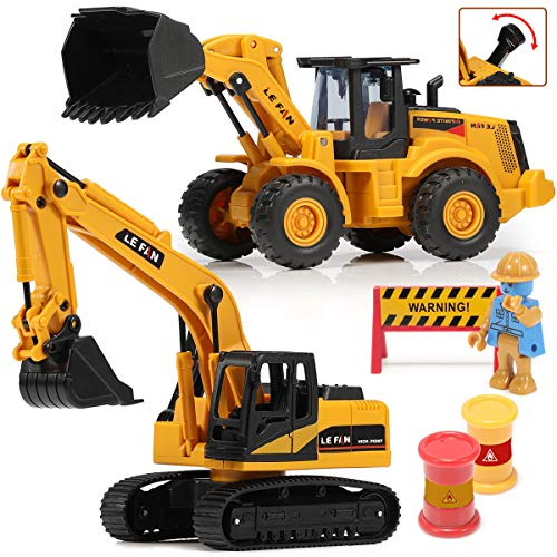 Toys Excavator Bulldozer Truck for Kids, Construction Tractor Toys, Engineer Caterpillar Construction Vehicle Sets of 2, Pushdozer Toy Truck Machine, Movable Claw Loader Digger Trucks Toys for Boys