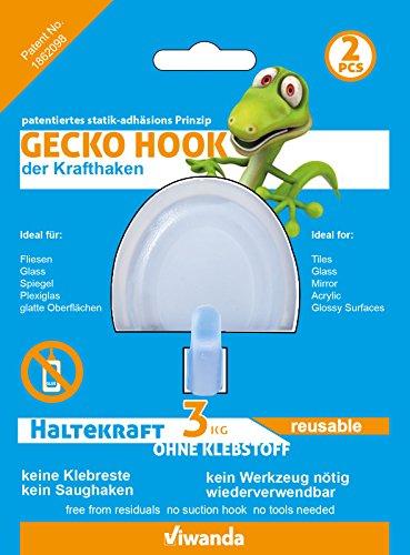 2x Viwanda Gecko Hook, Haken für Glas und glatte Oberflächen, KEIN KLEBER, KEIN SAUGHAKEN