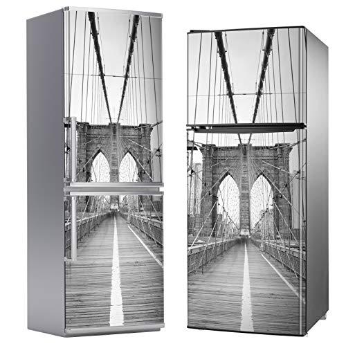 MEGADECOR Vinilo Adhesivo Decorativo para Nevera, Especial Libre De Burbujas, Foto En Blanco Y Negro del Puente De Brooklyn, Nueva York (185cm x 70cm)