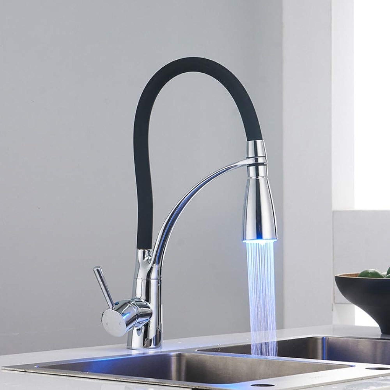 Ayhuir Led-Licht Küchenarmatur Schwenkauslauf Pull Down Badezimmer Spüle Mischbatterie Deck Montieren Hei Kalt Wasser Mischbatterien
