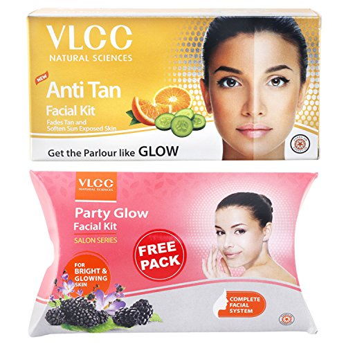 VLCC Anti Tan Facial Kit, 60g with Free Party Glow Facial Kit, 60g