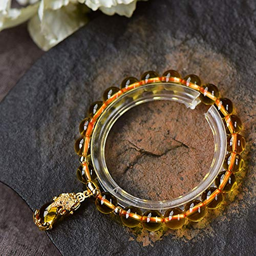 Lucky Wealth Feng Shui Yellow Quartz Bracelet Pixiu Pendant Bangle Yellow Crystal Bracelet for Women Attract Money Luck Strong Talisman Amulet