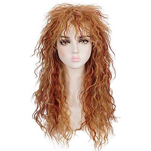 Morvally Womens 80s Style Long Curly Blonde Reddish Brown Hightlights Heat Resistant Hair Wig for Halloween, Cosplay