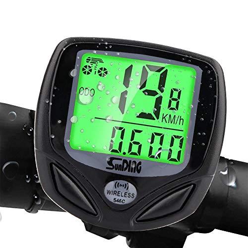 Jusduit Fahrradcomputer Kabellos 16 Funktionen IP54 Wasserdichte LCD-Hintergrundbeleuchtung Geschwindigkeit Fahrradtacho Radcomputer Tacho, Kabelloser Fahrradtacho für alle Fahrradtypen