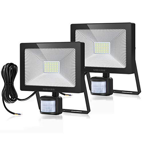 MEIKEE 50W LED Strahler mit Bewegungsmelder 5000LM Superhell LED Fluter mit Sensor IP66 Wasserdicht Außenstrahler Flutlichtstrahler Scheinwerfer für Garten Garage Sportplatz, 2 Pack