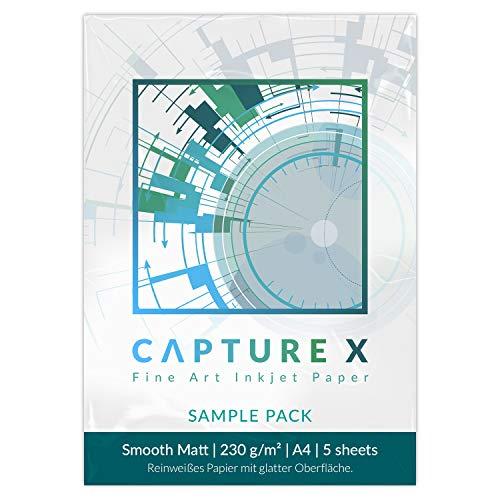 CAPTURE X Smooth Matt, 230g/m², A4, Sample Pack, 5 Blatt - reinweiß, glatt - Fine Art Paper testen