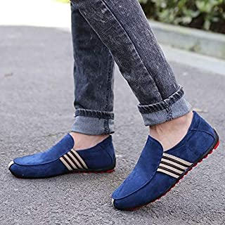 Man Shoes Walking Ventilation Casual Male Men Sapato Masculino Bottom Canvas Slip Driving Moccasin Loafers Flat Shoes(Blue,7)
