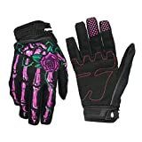 OutMall Cycling Gloves, Skeleton Full-Finger Touchscreen Bike Gloves for Men/Women Bicycle Riding, Motorcycle Racing, Airsoft Paintball, Lifting Fitness, Hunting, Climbing Outdoor Sports (Pink, S)