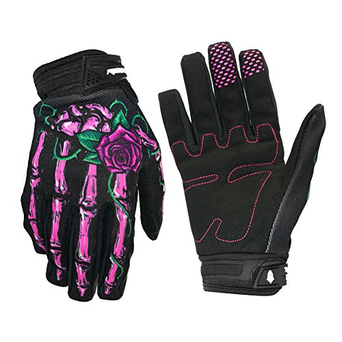 OutMall Cycling Gloves, Skeleton Full-Finger Touchscreen Bike Gloves for Men/Women Bicycle Riding, Motorcycle Racing, Airsoft Paintball, Lifting Fitness, Hunting, Climbing Outdoor Sports (Pink, M)