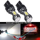 HSUN Bombillas LED 7443 W21/5W T20, 16 LED SMD3030 chipsets de 3200LM extremadamente brillantes con Canbus de alta potencia para luz de freno LED de coche, luz trasera y más, 2 unidades, 6000K blanco