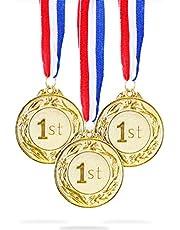 Juvale Gouden medaille (6-Pack) - Metalen Olympische Stijl Winnaar Award Medailles Sport, Wedstrijden, Spelling Bijen, Party Favors, 6,5 cm in diameter 81 cm lint
