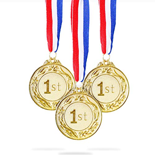 Juvale 6-Pack Gold 1st Place Award Medal Set - Metal Olympic Style for Sports, Competitions, Spelling Bees, Party Favors, 2.5 Inches in Diameter with 32-Inch Ribbon