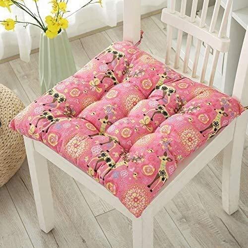 Gwendolyn Siège 2 Chaise Pack Sièges Tapis avec Cravate, antidérapage Siège décoratif Coussins draps en Coton Chaise Coussins for Le Jardin Home Office balançoire (Color : Pink Deer, Size : 40 * 40)