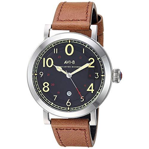 AVI-8 Men's 44mm Brown Leather Band Steel Case Quartz Black Dial Analog Watch AV-4067-02