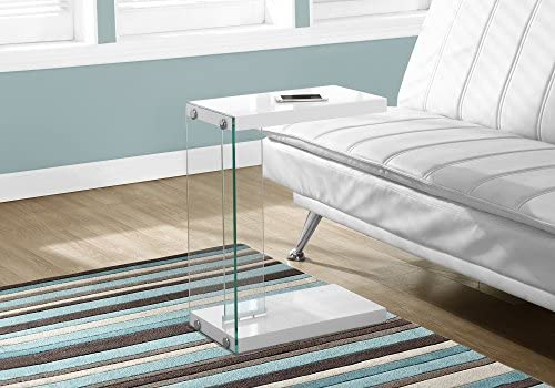 Best Monarch Specialties , C Table - Tempered Glass Accent Table, Glossy White C-Table