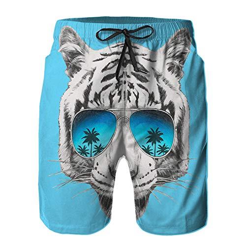 Benle Hombres Playa Bañador Shorts,Retrato, de, Tigre, con, Espejo, Gafas de Sol,Traje de baño con Forro de Malla de Secado rápido 4XL