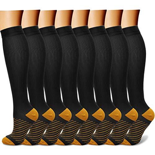 Charmking Kompressionssocken für Damen und Herren, 8 Paar, 15-20 mmHg, ideal für Sportler, Laufen, Flugreisen, Radfahren, Damen, 30 schwarz/braune Streifen, Small-Medium