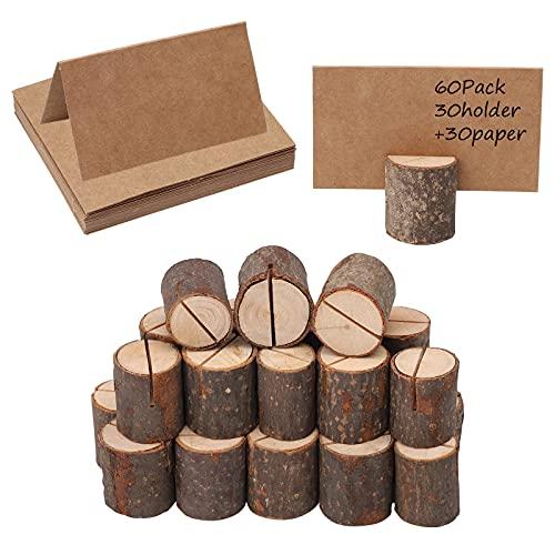 30 Set Portatarjetas de Madera,Soporte para Tarjetas de Notas con Tarjetas Kraft para la Decoración de la Oficina en Casa de la Fiesta de Navidad de la Boda