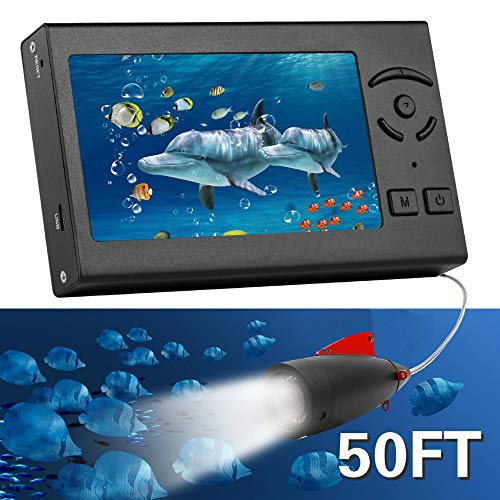 RICANK Underwater Fishing Camera, Portable 50FT Fish Finder Camera HD 1000 TVL LED Waterproof Camera 4.3 Inch LCD Monitor Handheld 15M Fish Depth Finder for Ice Lake Sea Boat Kayak River Fishing Black