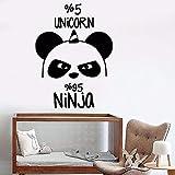 ASFGA Vinilo Decorativo de Pared Dormitorio decoración para el hogar póster Oso Panda Ninja guardería Etiqueta de la Pared habitación Infantil 42x57cm