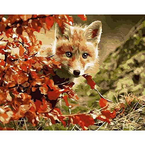 Pintura por números Pintura Digital Kits de Pintura al óleo FoxHome Decoración DIY Pintura acrílica para Colorear por números Animal Pintado a Mano Regalo 40x50cm