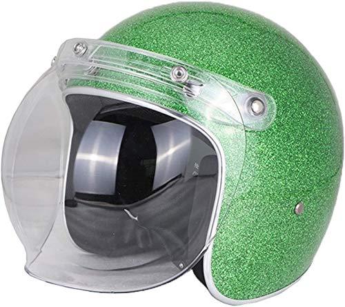 EBAYIN Cascos Half-Helmet Cascos Abiertos Brain - Cap Dot ECE Certificado Cruiser Chopper Scooter 3/4 Casco Retro Harley Medio Casco Casco De Colisión De Seguridad para Adultos,H-XL=(61~62cm)