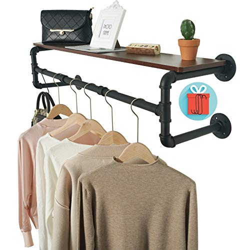 Crehomfy Industrial Pipe Clothes Rack with 3 SShaped Hooks 41#039#039L Wall Mounted Garment Rack Heavy Duty Iron Garment Bar Clothes Hanging Rod Bar 4 Base Max Load 135Lb Black Without Plank