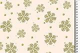 Hemmers Baumwolle Glitzer Weihnachten Schneeflocke Creme -