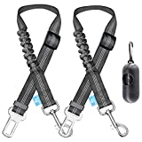 BAAPET Dog Seatbelt Leash for Cars, 2-Packs Pet Safety Seat Belt Harness with Shock Absorbing Bungee and Reflective Threads for Car Dogs Restraint (Black+Black, Standard+Standard)