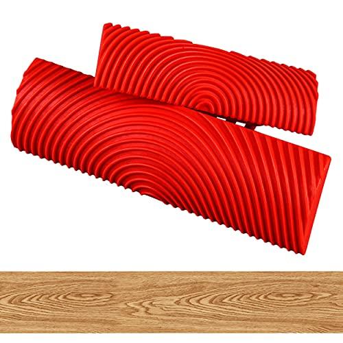 2 Piezas Grano de Madera Grano de Goma, Herramientas de Imitación de Madera, Ayudan a Crear Textura de Madera Natural, 12,7 * 4 cm + 8,7 * 3 cm (Rojo)