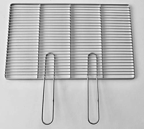 Grillrost rechteckig 54x34cm inkl. 2 abnehmbaren Handgriffe aus Edelstahl robust hochwertig