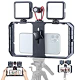 Smartphone Video Rig with Shortgun Microphone + 2 Led Video Light, Handheld Stabilizer Filmmaking Case w 3 Cold Shoe Vlog Videographing Accessory for iPhone 11 Pro Max Xs 8 Plus Huawei Samsung
